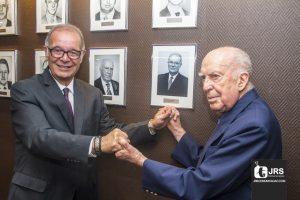 Os ex-presidentes do SindSeg-RS, Julio Cesar Rosa e Miguel Junqueira Pereira. William Anthony/JRS