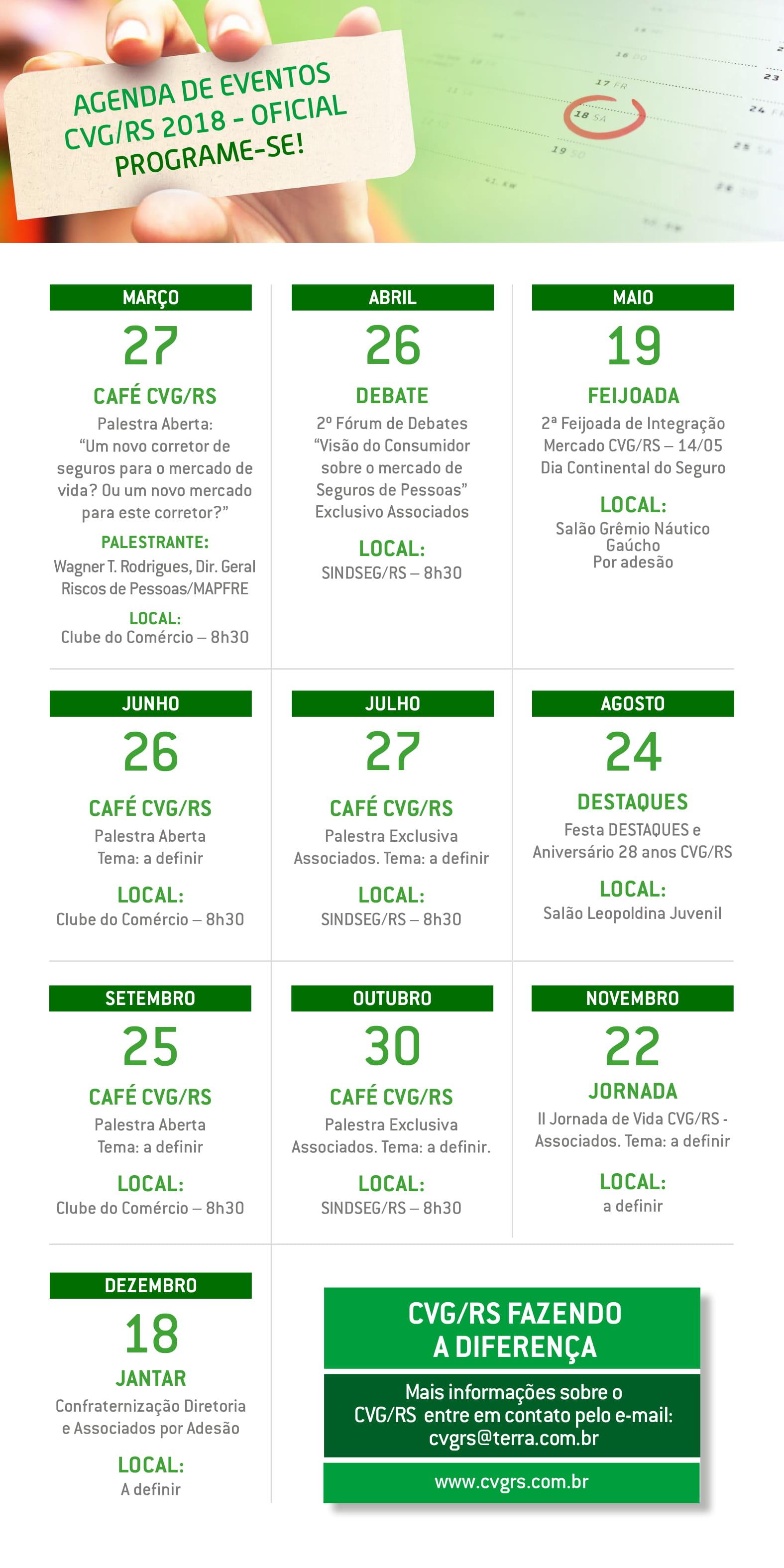 Agenda Eventos CVG/RS 2018