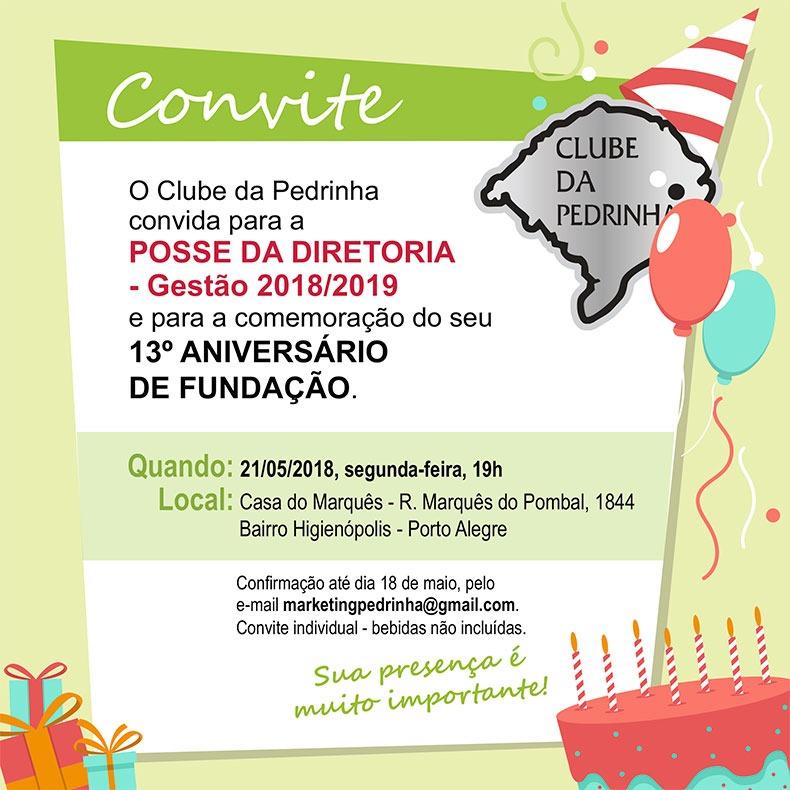 Convite para posse da diretoria do Clube da Pedrinha (RS)
