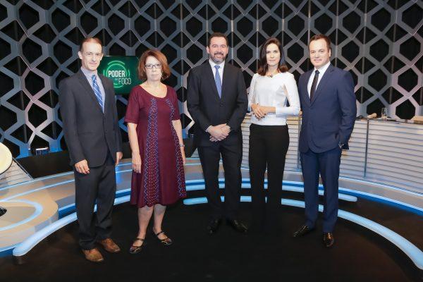 Aluisio Alves, Cida Damasco, Dyogo Oliveira, Débora e Marcelo Torres. Foto: Gabriel Cardoso/SBT.