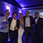 Henrique Macedo, da HMF, Rodrigo Valadares, Gerente de Middle Market da AIG, Katia Pavanelli (HMF), Fabio Oliveira, CEO AIG e Augusto Assis, Diretor de Sinistros da AIG.