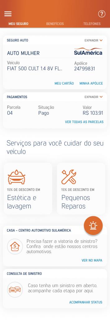 Novo app SulAmérica Auto passa a mostrar contato do corretor e amplia acesso a serviços