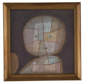 Paul Klee | Büste eines Kindes, 1933, 380 | Busto de uma criança  Aquarela sobre algodão sobre compensado; moldura original  50,8 x 50,8 cm | Zentrum Paul Klee, Berna