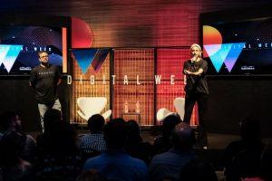 Cristiano Barbieri e Patricia Coimbra na palestra de abertura da Digital Week / Foto: Rodrigo Mequelazzo