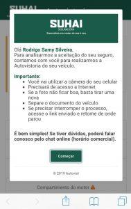 Exemplos de telas do autovistoria da Suhai Seguradora / Divulgação
